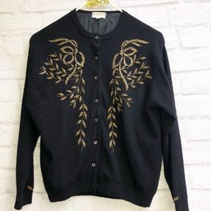 Vintage Moores Black Cashmere Beaded Cardigan